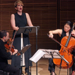 Joyce DiDonato at Zankel Hall with the Brentano String Quartet: from left, Serena Canin, Mark Steinberg, Nina Lee and Misha Amory.